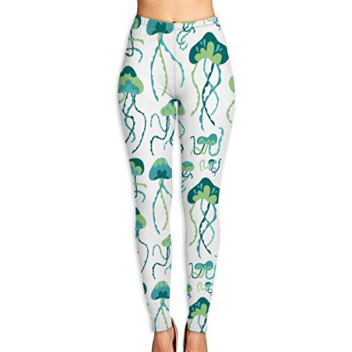 Deglogse Yogahosen, Trainingsgamaschen,Jellyfish Tie-Dye Watercolor Art Pattern Women's Printed Leggings Pants for Sports Yoga Workout Gym Running