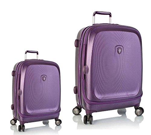 Sets de Bagages, valises - Première Classe Valise Rigide Set 2 pièces - Heys Crown Smart Gateway Violet Bagages à Main + Trolley avec 4 Roues Grand