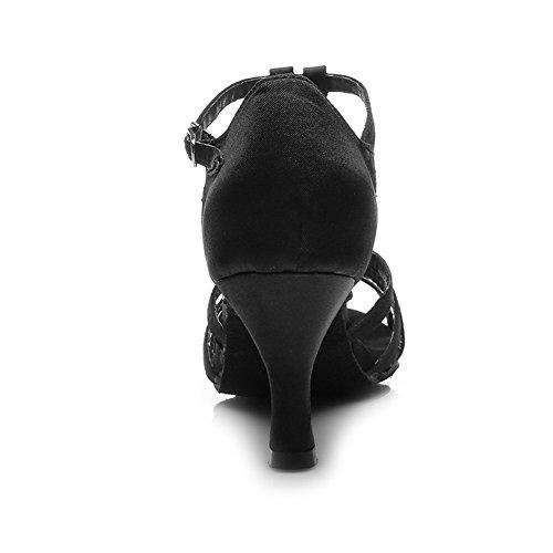HIPPOSEUS Donna Ballroom Scarpe da ballo /sala da ballo scarpe/Scarpe da ballo latino standard di Raso,Modello-IT230 7CM Nero