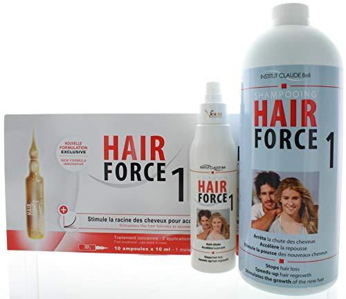 Hair Force One - Ampullen + Shampoo + Lotion Professional gegen Haarausfall als Wachstumsbeschleuniger für die Haare