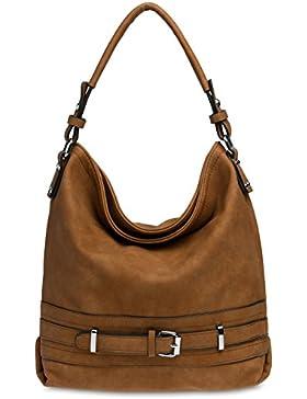 CASPAR TS1019 Damen Handtasche / Schultertasche mit Schnallen Dekor
