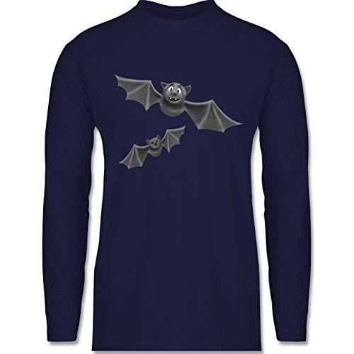 - süße Fledermäuse - 3XL - Navy Blau - BCTU005 - Herren Langarmshirt ()