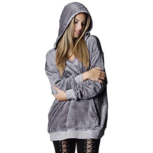 MERICAL Pullover Damen Tumblr Kapuzen Soft Velvet Jumper Sweatshirt Oversize Mantel Jacke(EU:42/CN:S,Grau)