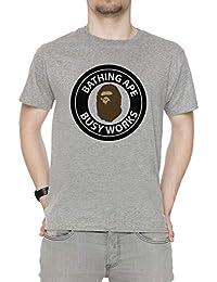 39c72f913312 Bape Bathing Ape Head Circle Logo - Bape Uomo Girocollo T-Shirt Grigio  Maniche Corte