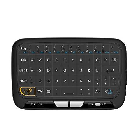 Rungao H18Mini Keyboard Mouse Touchpad télécommande sans fil 2,4GHz combos Extra Large Zone tactile Control pour Android TV Box, Google TV Box, IPTV, Smart TV et plus encore