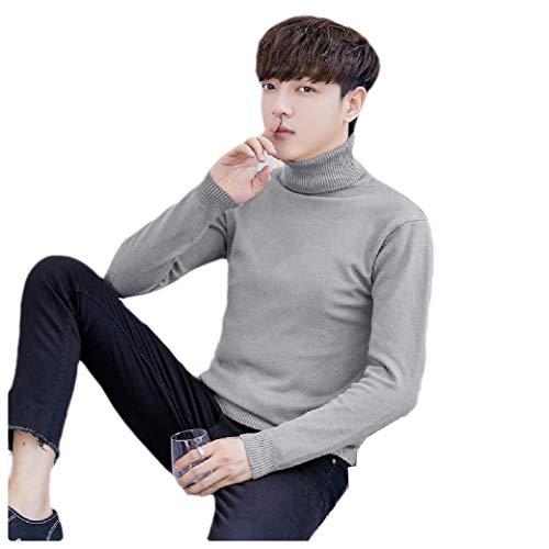 Energy Men's Skinny Knitwear Solid Fall Winter Mock Neck Pullover Sweater Grey S - Red Mock Turtleneck Pullover