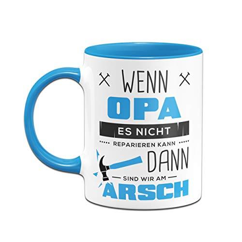 Tassenbrennerei Tasse mit Spruch Wenn Opa es Nicht Reparieren kann - Geburtagsgeschenk,, Geschenk für Opa, Großeltern - Vatertag (Blau) - 2
