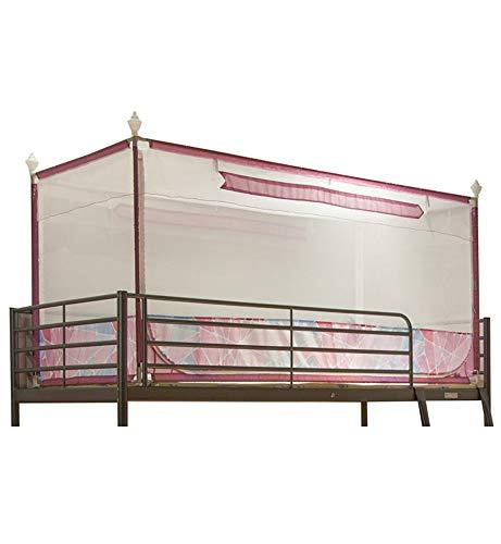 mosquitera/dormitorio cuadrado superior para estudiantes mosquitera/mosquitera de tres puertas/litera superior cama individual mosquitera/mosquitera anti-mosquitos, rosa, 192 * 100 * 110cm
