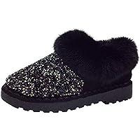 LILICAT☃ Zapatos de Piel Plana con Lentejuelas Silvestres más Botas de algodón con Terciopelo para Mujeres Planos con Lentejuelas Silvestres Calzado Informal Botas de algodón Antideslizantes