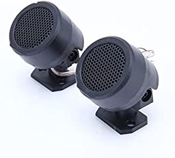 LOWRENCE Round Tweeter Speakers for All Cars (Black)