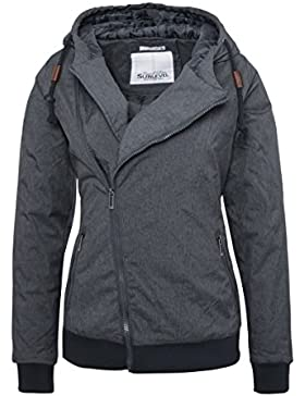 SUBLEVEL Damen Winterjacke mit Kapuze   Gefütterte Jacke in Grau und Blau im Melange Look