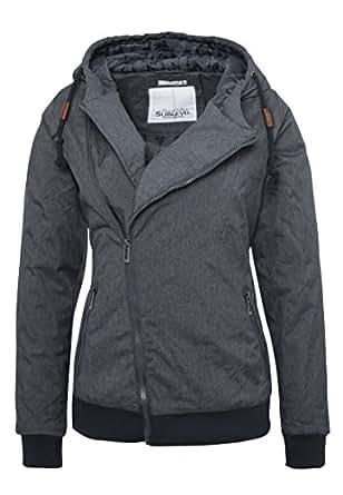 sublevel manteau d 39 hiver pour femme avec capuche veste doubl e grise et bleue pour un m lange. Black Bedroom Furniture Sets. Home Design Ideas