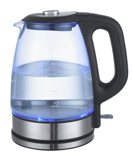 Luxus Glaswasserkocher Edelstahl+Glas Wasserkocher LED Beleuchtung 1,7L 2200 Watt 14291