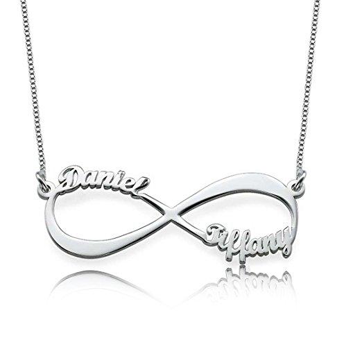 Bo&Pao Infinity Namenskette 925 Sterling Silber mit Zwei/DREI/Vier Wunschnamen, Individuelle Unendlichkeit Halskette Silber/Rosegold/Gold mit Namen