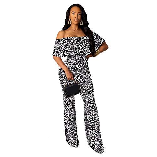 Elecenty Moda Sexy Monos De Vestir Mujer Volantes Fuera del Hombro Leopardo Manga Corta Tops Camisetas Suelto Pantalones Anchos