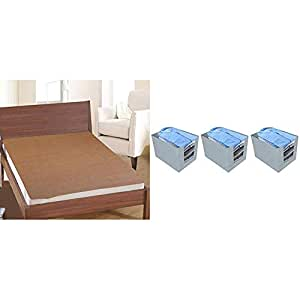 "Kuber Industries PVC Waterproof King Size Mattress Protector 78""X72"" (Brown), CTKTC013920 & Non-Woven 3 Pieces Shirt Stacker Wardrobe Organizer (Grey)-CTKTC021196 Combo"