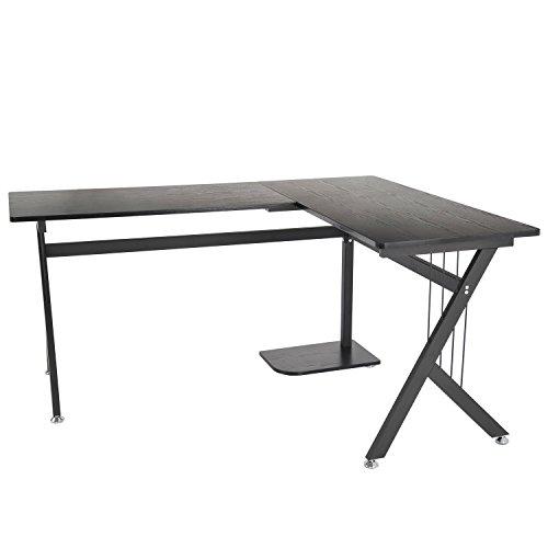 Homcom A2-0081 Computertisch, Holz, modell 3/schwarz, 155.0 x 130.0 x 76.0 cm