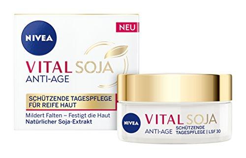 NIVEA  Vital Soja Anti-Age Tagespflege im 1er Pack (1 x 50 ml), Tagescreme mit LSF 30 und Soja-Extrakt, Anti Aging Feuchtigkeitscreme für gemilderte Falten