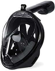 JAJA TECH Masque de plongée, vue complète à 180 ° Anti-buée anti-fuites Compatible avec Gopro Slot Action Camera 1Pack