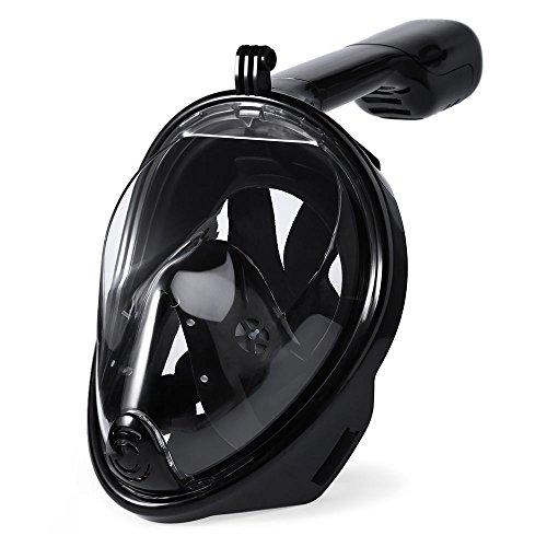 JAJA TECH Schnorchelnde Maske 1 Pack Full Face Trockene Top 180 ° Ansicht Anti-Fog Anti-Leckage-Technologie Free Breath Design Für Erwachsene und Jugend Tubeless Schwimmen Maske Für Gopro Helden 4/3 + (H2o Maske)