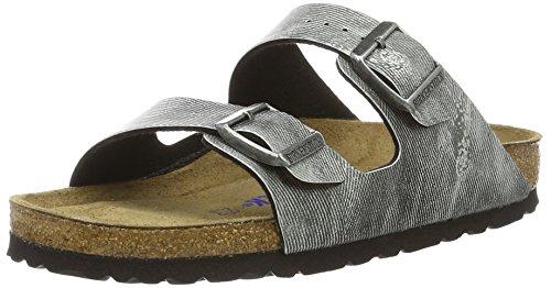 Birkenstock Classic Unisex-Erwachsene Arizona Birko-Flor Softfootbed Pantoletten, Grau (Used Jeans Grey), 38 EU