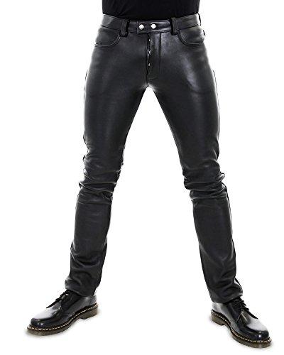 Bockle® 501 Aniline Lederhose Herre Leder Jeans Tube Röhre Skinny Slim Fit Herren Schwarz, Size: W32/L34 -