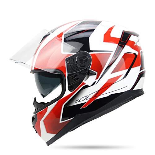 Doppelobjektiv-elektrischer Motorrad-Sturzhelm-Winter-voller Gesichts-Sturzhelm Männer voll-bedeckender warmer voller Gesichts-Sturzhelm-elektrischer Auto-Sturzhelm ( Farbe : White red , größe : XXL )