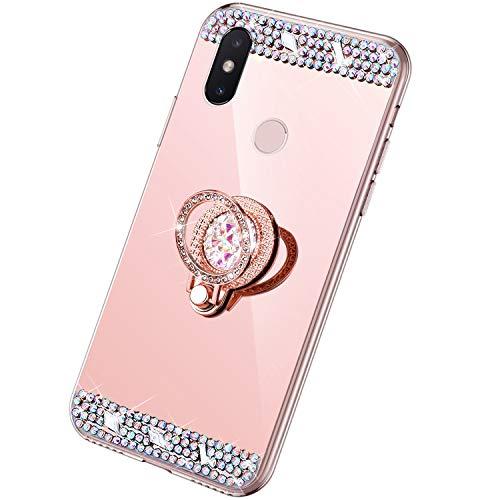 Rann.Bao Glitter Espejo Funda Xiaomi Mi Mix 2S Cover Suave Silicona Conchas Diamante Brillante Caso Transparente Delgado Funda in TPU con Soporte de Anillo Anti-Rasguño Cubierta,Oro Rosa