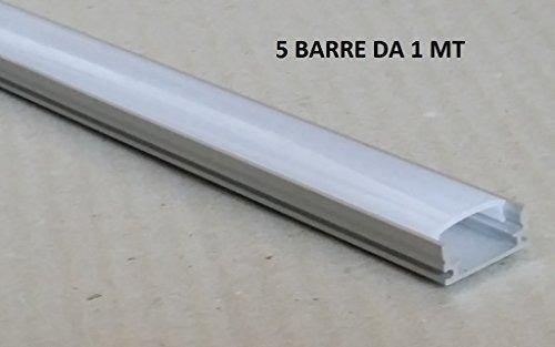 Kit 5barras de 1mt Perfil de aluminio 6063para tiras de LED con carcasa mate Tapones y ganchos de montaje