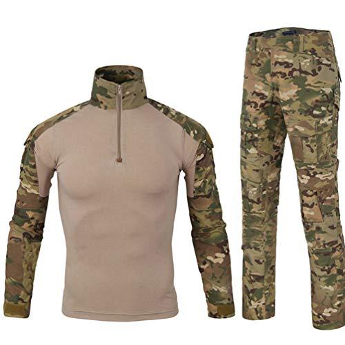 YuanDian Herren Tactical Camouflage Uniformen 2 Stück Sets Outdoor Militär Combat Frosch Anzug Armee Jagd Hosen Atmungsaktiv Langarm T Shirt Top Tarnmuster Bekleidung MC Camo L