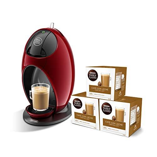 Pack De'Longhi Dolce Gusto Jovia EDG250.R - Cafetera de cápsulas, 15 bares de presión, color rojo + 3 packs de café Dolce Gusto Con Leche