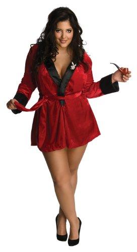 Kostüme Bunny Playboy Rot (roter sexy Playboy Bunny Mantel für Damen Gr. XL,)