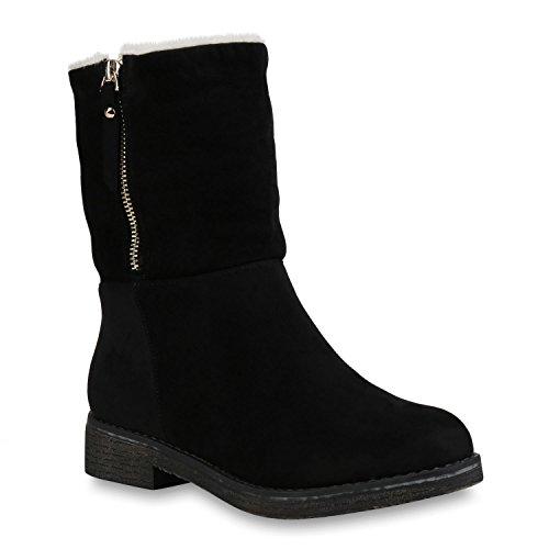 Stiefelparadies Damen Schuhe Stiefeletten Stiefel Winterboots Kunstfell Warm Gefüttert 146278 Schwarz Camiri 39 | Flandell®