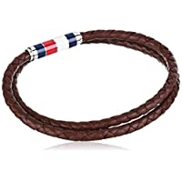 Tommy Hilfiger Men's Jewelry Leather Double Wrap Bracelet, Color: Brown (Model: 2790055)