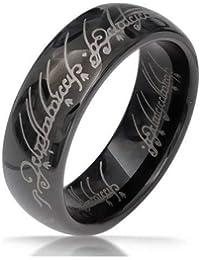 Anello anello donna uomo tungsteno nero Lord Il Signore degli Anelli