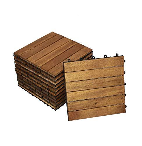 SAM Terrassen- Holzfliese 01, Akazie FSC® 100{639d2a369bdfcc35a0aa32e6ea857fe0a9d7772546e70b3d81aaaadc40bcf8ee}, 11 Klick-Fliesen für 1m², 30x30cm, Garten- Bodenbelag mit Drainage