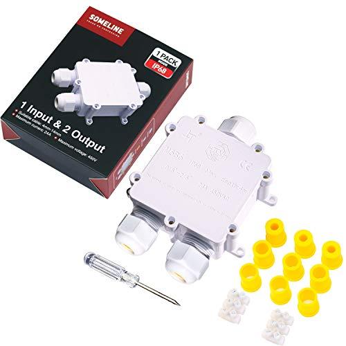 Wasserdichte Anschlussdose für Außenbereich IP68-Kabelstecker Externe 3-Wege Abzweigdosen für Ø 4mm-14mm Kabeldurchmesser SOMELINE Weiß