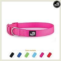 Pets&Partner Hundehalsband aus Nylon, Halsband mit Kunststoffschnalle in verschiedenen Farben für kleine bis große Hunde XS, Pink