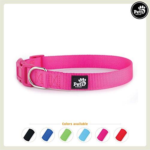 Pets&Partner Hundehalsband aus Nylon, Halsband mit Kunststoffschnalle in verschiedenen Farben für kleine bis große Hunde XS, Pink (Hundehalsband Nylon)