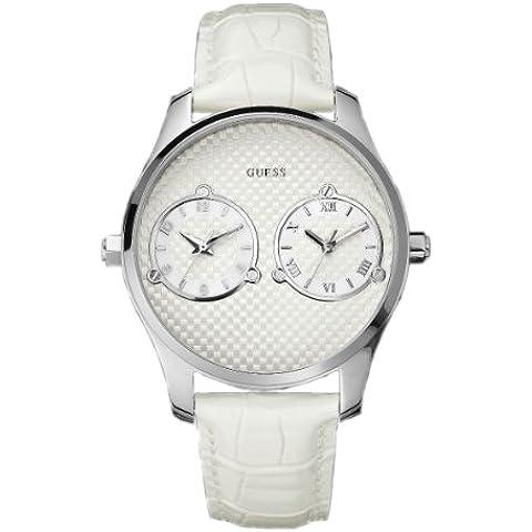 Guess Duce W80043G1 - Reloj de caballero de cuarzo, correa de piel color blanco