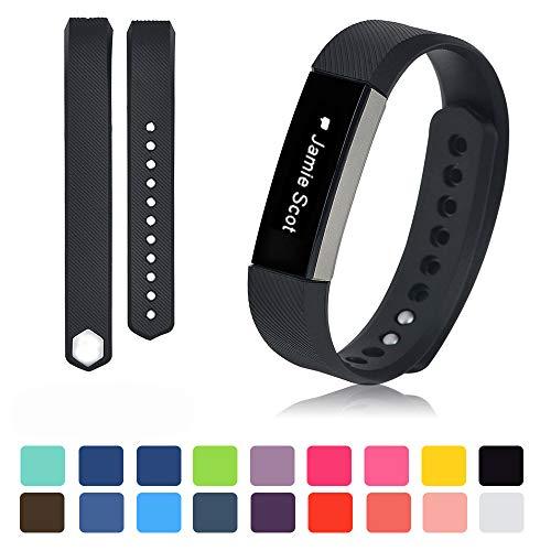 (Schwarz Fitbit Alta Armband + [Free HD Schutzfolien], iFeeker Kleine Größe Bunte Weiche Silikon Ersatz Sport Uhrenarmbänder Armband Strap für Fitbit Alta mit Kostenlosen Sicheren Verschluss Ringe (Keine Tracker))