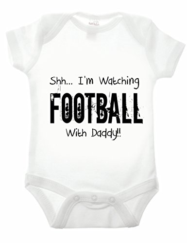 Bullshirt's Shh...I'm Watching Football With Daddy Babygrow (18-24 Months, White)