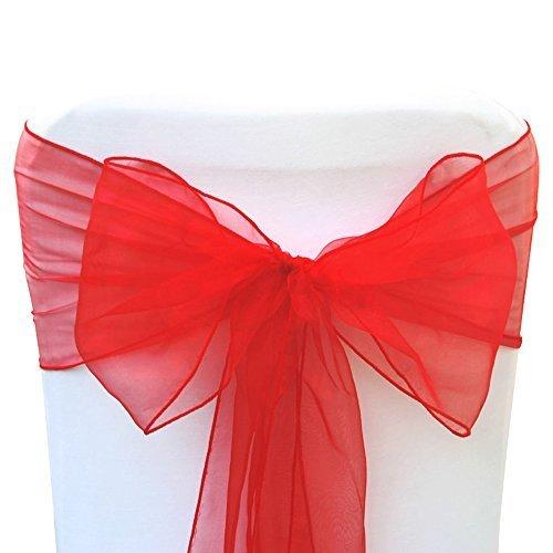 1, 50, 100, 120und 150x 17cm breit 280cm lang–Organza Schärpen Stuhlhusse Bögen Volleres für Hochzeit Geburtstag Party Events 34Farben von Hochzeit Decor, Textil, rot, 100 Stück (Satin-bogen Red)