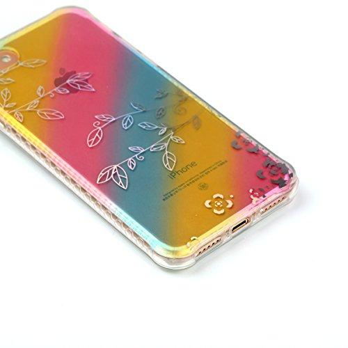 Custodia Cover iPhone 7,Ukayfe Ultra Slim Custodia Cover Resistenti per iPhone 7,Colorato Placcatura Disegni Bella Vintage Elegante Casa Coperture Sottile Morbida Soft TPU Silicone Gomma Gel Intarsiat Filiali