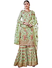 GREEN COLOUR GEORGETTE FABRIC EMBROIDERED SHARARA SUIT