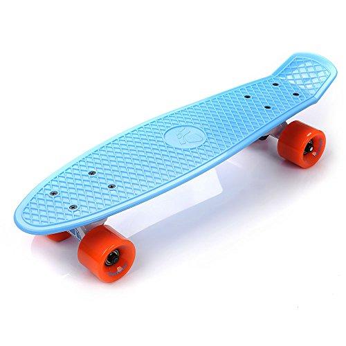 meteor Skateboard Kinder Mini Cruiser Board Skateboard Rollen Board - Kunststoff Skateboards Retro Skateboard Jungen Mini Skateboard Kinder ab 5 Jahre Vintage miniboard (Blau/Orange/Weiß)