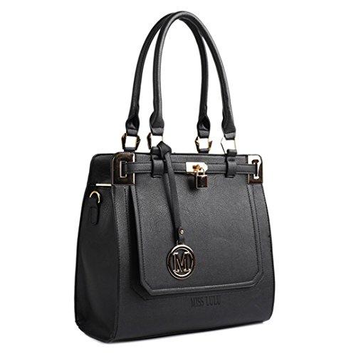 Borsa portaoggetti a tracolla da donna, in pelle, elegante oggetto di design nello stile delle celebrità Nero/Bianco