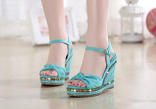 BaiLing Damen Sommer Sandalen / Wedge Ferse handgefertigte gestrickte Stroh wasserdicht / Bowknot dicke Boden / kleine Größe Schuhe Green