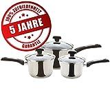 Prestige Edelstahl-Topfset hochwertig antihaft-Beschichtet 3 Induktion Kochtöpfe mit Praktischem Stiel und Glas-Deckel (16, 18, 20 cm)