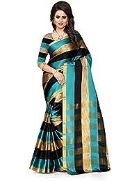 Reeva Trendz Women's Cotton Silk Saree (Rama, Rama, Free Size)